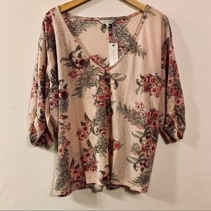 Lucky Brand Blush Floral Blouse NWT (L)